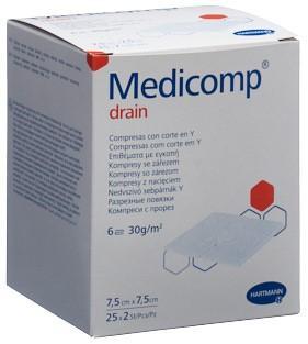 MEDICOMP drain 7.5x7.5 steril 25 Btl 2 Stk