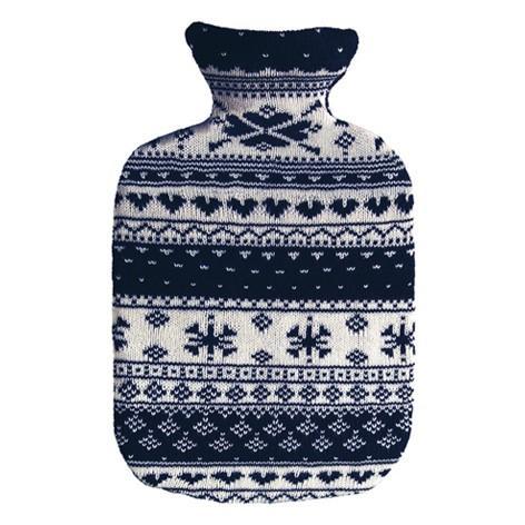 SÄNGER Wärmflasche 2l Strickbezug blau Norweger