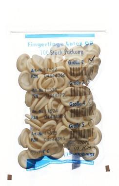 DR. JUNGHANS Fingerlinge Latex Gr2 puderfr 100 Stk