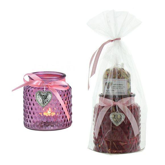 HERBORISTERIA Geschenkset Windlicht Blütenzaub Tee