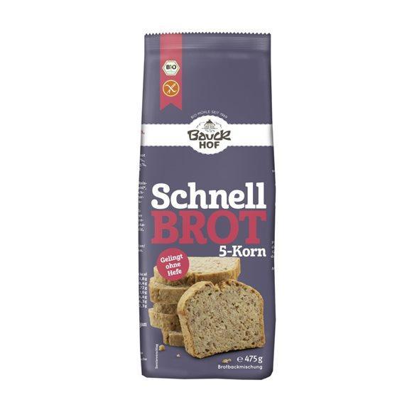 BAUCKHOF Schnellbrot 5-Korn glutenfrei 475 g