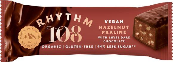RHYTHM108 Hazelnut Prali Dark Choco Bar 33 g